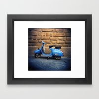 Blue Vespa, Italy Framed Art Print