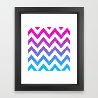 PINK & TEAL CHEVRON FADE Framed Art Print
