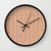 Peach And Gray Tribal Pa… Wall Clock