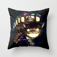Cat Bus is In Your Town! Miyazaki Tribute Digital Fan Painting Throw Pillow