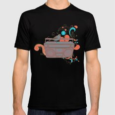 Retro Music SMALL Mens Fitted Tee Black