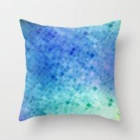 Blue Mosaic Pattern Throw Pillow