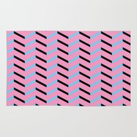 Blue and Black Chevron on Hot Pink Rug