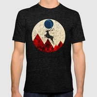 Deer Dream Mountain · 3 Mens Fitted Tee Tri-Black SMALL