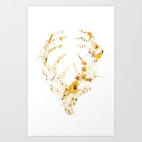 Mr Stag Orange Flowers Art Print