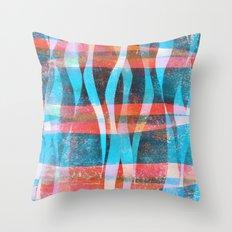 'Flames' block print and digital design. Throw Pillow