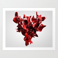 Twist Of Heart - Red Art Print