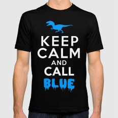 Keep Calm and Call Blue | Jurassic Raptor Dinosaur SMALL Mens Fitted Tee Black