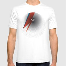 Round Bowie SMALL White Mens Fitted Tee