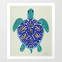 turtle Art Prints featuring Sea Turtle by Cat Coquillette