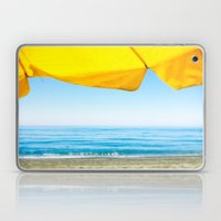 Yellow Beach Brolly with Blue Sea and Sky Laptop & iPad Skin