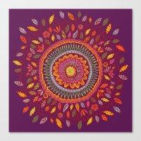 Leafy Fall Mandala Canvas Print
