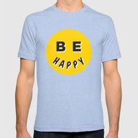Be Happy Smiley Mens Fitted Tee Tri-Blue SMALL