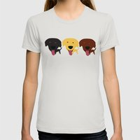 Labrador dogs black yellow chocolate 2 Womens Fitted Tee Silver SMALL