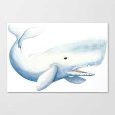 Nautical Whale Watercolor Canvas Print