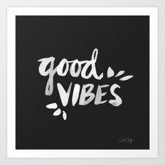 Good Vibes – White Ink Art Print