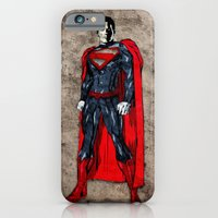 iPhone & iPod Case featuring Steel Man by UvinArt