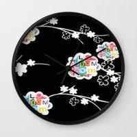 B&W Bloom Wall Clock