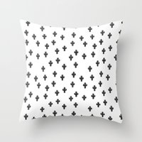 Catctus Black On White Throw Pillow