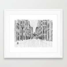 Fog and Rain: Cityscape (WHITEOUT) Framed Art Print