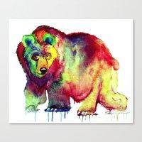 Coloured Bear Canvas Print