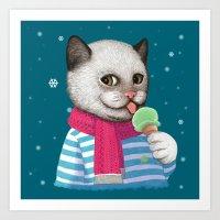 Ice cream & Snow Art Print