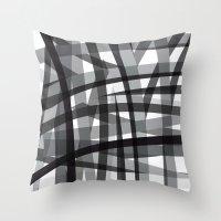 Grey Crossed Stripes Throw Pillow