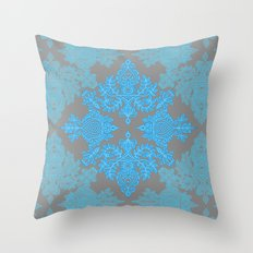 Turquoise Tangle - sky blue, aqua & grey pattern Throw Pillow