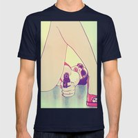 Girl With Gun 2 Mens Fitted Tee Navy SMALL