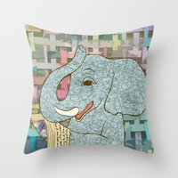 Elephant Reading Throw Pillow