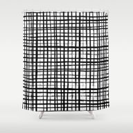 Essie - Grid, Black And … Shower Curtain