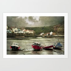 Staithes From The Harbour. Art Print