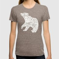 BEAR WITH ME - PINK Womens Fitted Tee Tri-Coffee SMALL