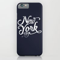 iPhone & iPod Case featuring New York City vintage typography - navy by WAMTEES