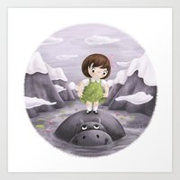 Lily And Hippo  Art Print