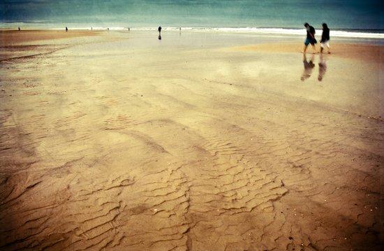 walking on golden sand Art Print