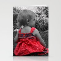 Sitting Red Dress Stationery Cards