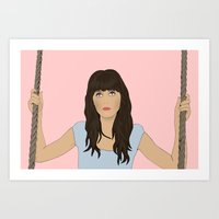 Zooey Deschanel Cartoon  Art Print