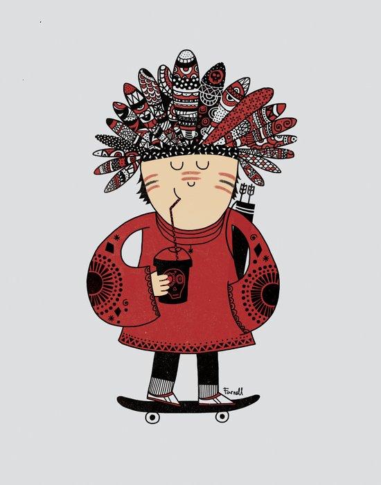 Native American Skater Boy Art Print