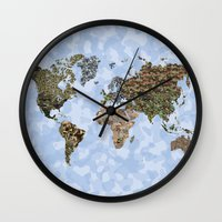 CAMO WORLD ATLAS MAP (BLUE) Wall Clock