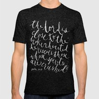 PSALM 34:18 (Black And W… Mens Fitted Tee Tri-Black SMALL
