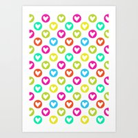 Colorful hearts  Art Print