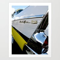 Yellow Classic American Muscle Car Belair  Art Print