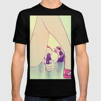 Girl With Gun 2 Mens Fitted Tee Black SMALL