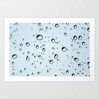blue rain drops Art Print
