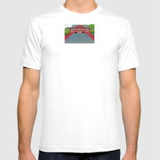 Red Temple White SMALL Mens Fitted Tee