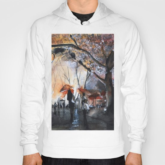 Autumn rain - watercolor Hoody