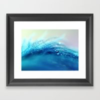 blue feather Framed Art Print