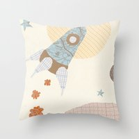 Spaceship Collage Throw Pillow