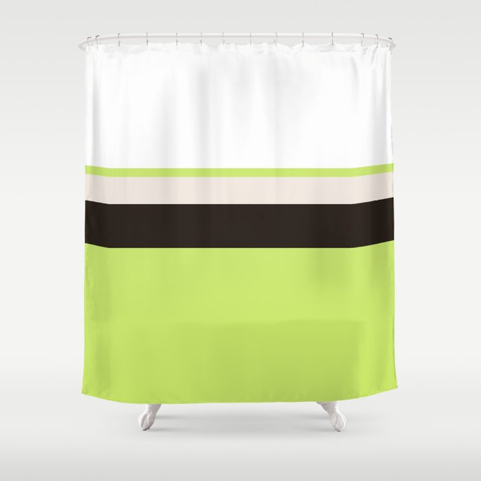 Modern Lime Green Color Block Gray Stripes White Shower Curtain By Girly Road
